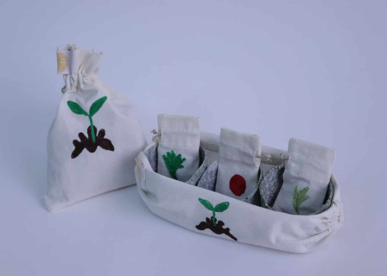Embroidered Canvas Gardening Kit