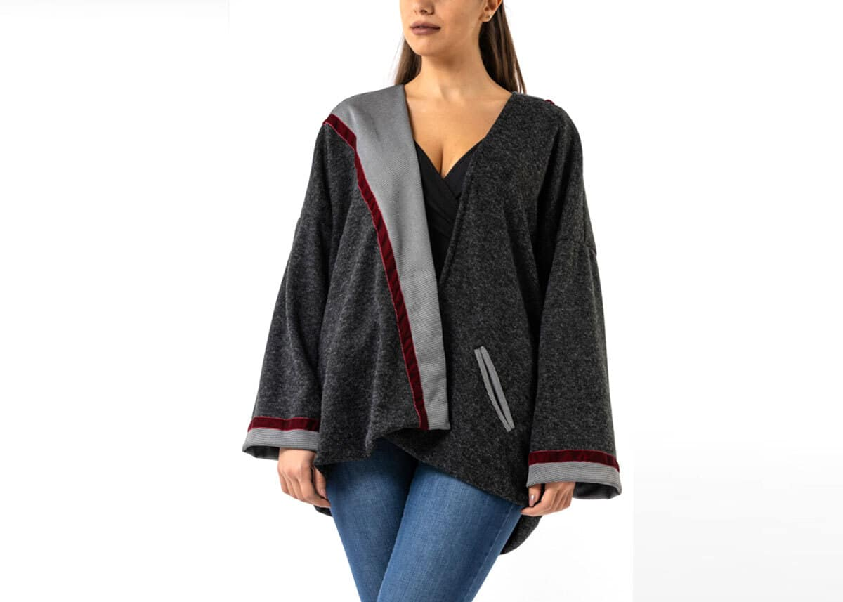 Two-Sided Wool Jacket with Velvet